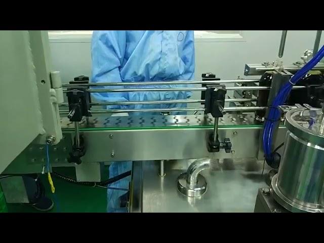 Машина для наполнения и завинчивания двойных гусениц от 30 до 100 мл для круглой бутылки